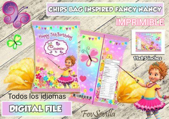 FANCY NANCY bolsa patatas personalizadas, archivo digital imprimible, envoltorios chips