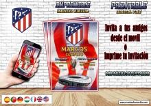 ATLÉTICO DE MADRID Invitación  personalizada, archivo Digital, imprimible