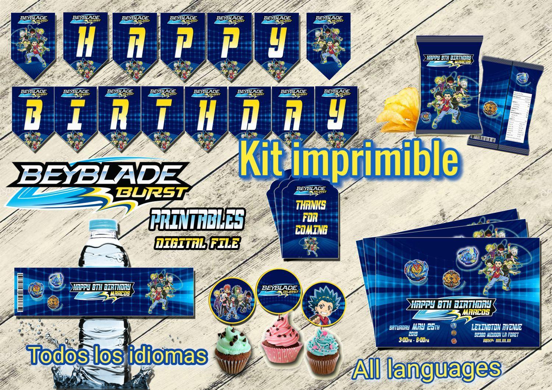Beyblade kit fiesta, Archivo Digital personalizado, Imprimible
