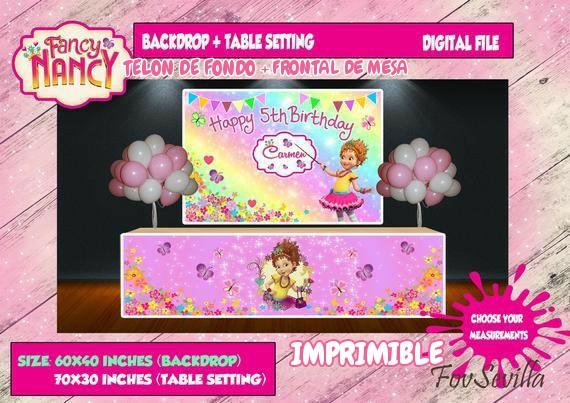 FANCY NANCY Telon de fondo. Envoltorio mesa Fancy Nancy. Archivo Digital personalizado, imprimible
