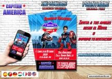 Capitan America invitacion digital con foto, todos los idiomas