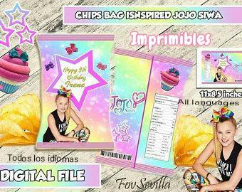 JOJO SIWA bolsa patatas personalizadas, archivo digital imprimible, envoltorios chips