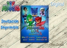 PJ MASK Invitación  personalizada, archivo Digital, imprimible