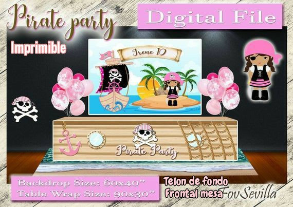 Girl Pirate Party Backdrop. Pirate girl table wrapper.