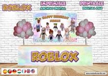 ROBLOX CHICA Telon de fondo, Frontal de mesa Roblox chica, Archivo Digital personalizado