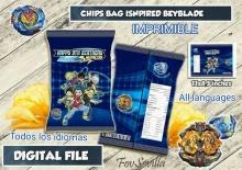 BEYBLADE bolsa patatas personalizadas, archivo digital imprimible, envoltorios chips