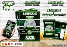 Videojuegos Invitación y bolsa patatas chips personalizada, archivo Digital, imprimible