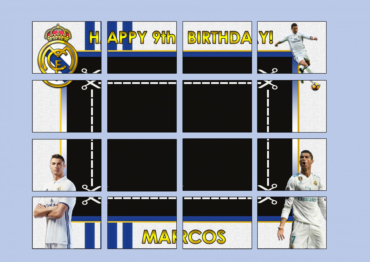 PHOTOCALL REAL MADRID, diseño imprimible en archivo digital, marco de photocall Real Madrid
