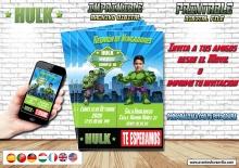 Hulk invitacion digital con foto, todos los idiomas