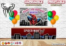 SPIDERMAN TELON De FONDO, Descarga digital, Spider-man frontal de mesa, Backdrop Spiderman imprimible, Fiesta cumpleaños Spiderman,  jpg