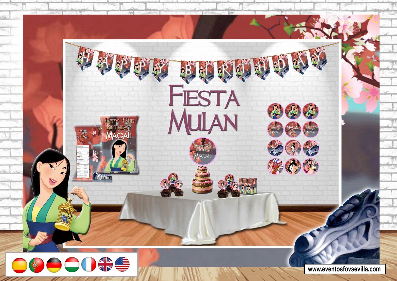Mulan kit cumpleaños. Archivo digital personalizado. Imprimible