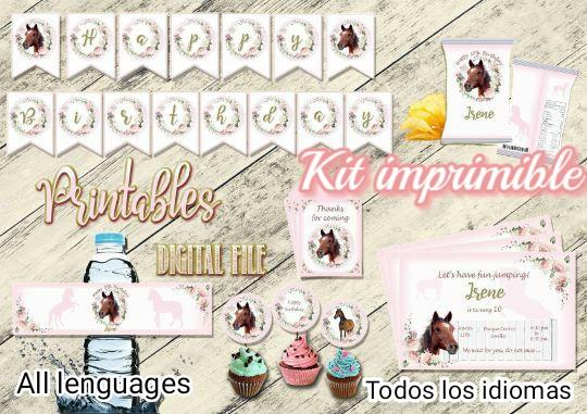 Fiesta Caballo kit cumpleaños, Archivo Digital personalizado, imprimible