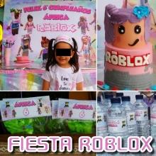 Kit Roblox chica/chico personalizado 7 diseños en archivo digital. banderines y 20 etiquetas de botellas envío a domicilio
