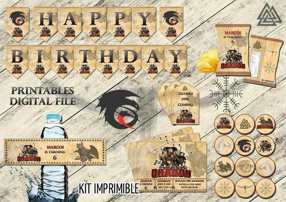 Como entrenar a tu dragon kit cumpleaños, Archivo Digital personalizado, imprimible
