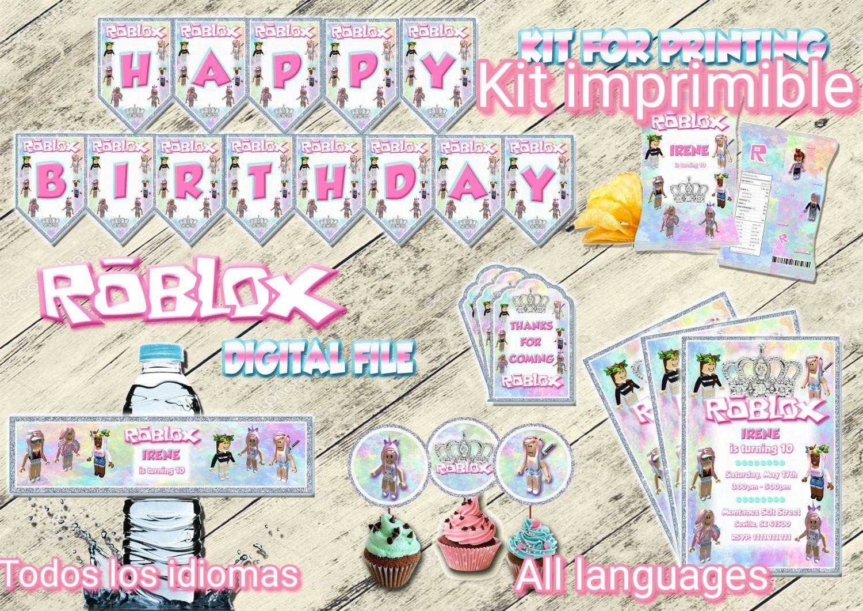 ROBLOX CHICA Kit cumpleaños, Archivo Digital personalizado, imprimible